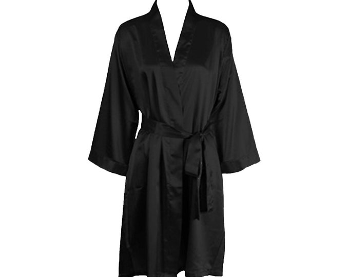 Bikini Competitor Robe - Black 3/4 Sleeve Satin Robe for NPC Bikini Fitness Competition