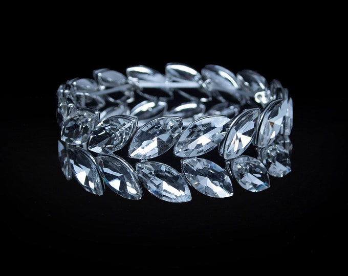 Jocelyn Clear Crystal Competition Stretch Bracelet for IFBB and NPC Bikini Fitness Bodybuilding Contests