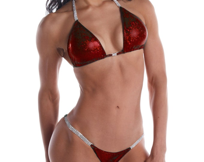 Dark Red Shatterglass Competition Bikini  NPC, IFBB, WBFF Bodybuilding Posing Suit