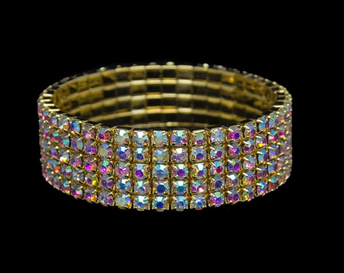 Lucy 5 Row AB Crystal Gold Stretch Bracelet for NPC Bikini Fitness Competitions