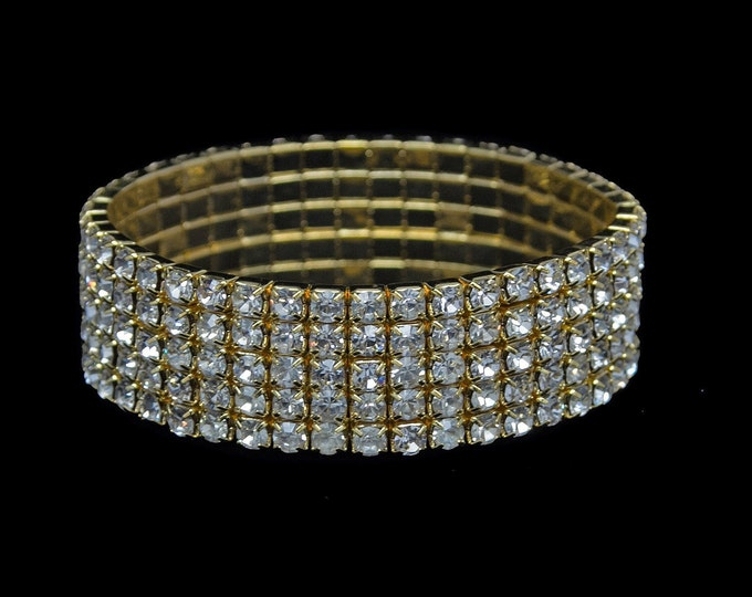 Lucy 5 Row Clear Crystal Gold Stretch Bracelet for NPC Bikini Fitness Competitions