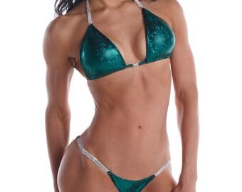 Emerald Green Shatterglass Competition Bikini  (NPC, WBFF, OPA)