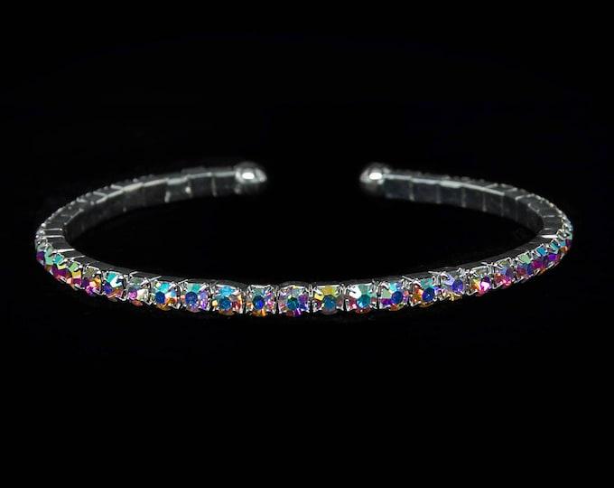 Zoe Single Row AB Crystal Spiral OPA & NPC Bikini Fitness Competition Bracelet