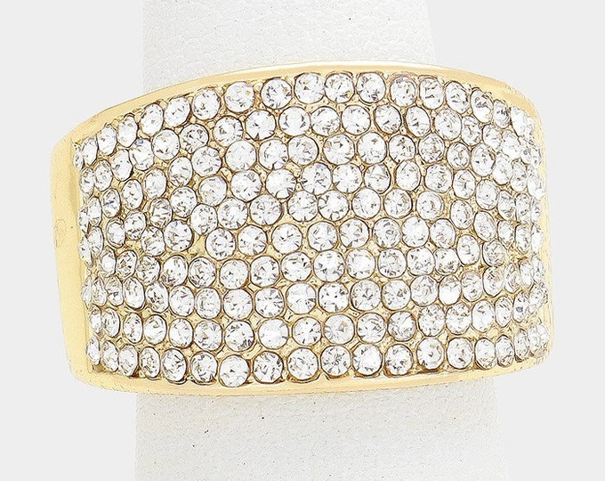 Geneva Gold Clear Crystal Bikini Fitness Competition Stretch Ring for IFBB, NPC, and OCB