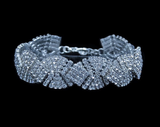 Michelle Clear Braided Crystal Rhinestone Competition Bracelet for IFBB, NPC, and NANBF Bikini Fitness Bodybuilding Contests