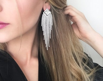 Skyla Clear Crystal IFBB, NPC Bikini Fitness Competition Earrings - Bodybuilding Jewelry