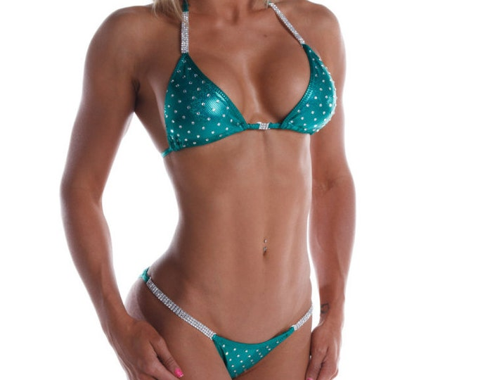 Most Envied Competition Bikini - Kelly Green - Light Bling   (NPC, WBFF, OPA)