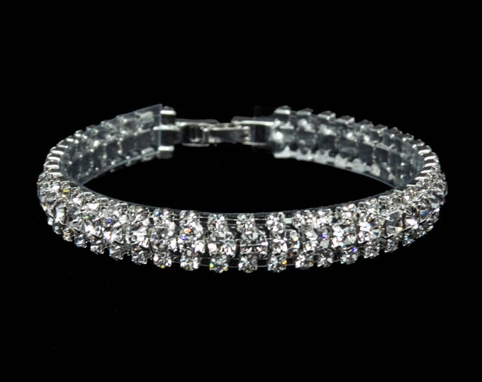 """Leah 3/8"""" Clear Crystal Competition Bracelet for IFBB, NPC, and NANBF Bikini Fitness Bodybuilding Contests"""