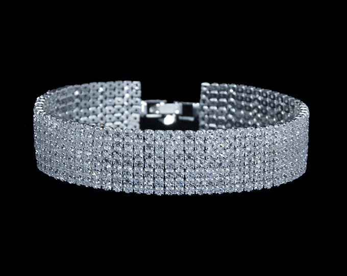 Kate 7 Row High Quality Cubic Zirconia Competition Bracelet for IFBB, NPC Bikini Fitness Bodybuilding Contests