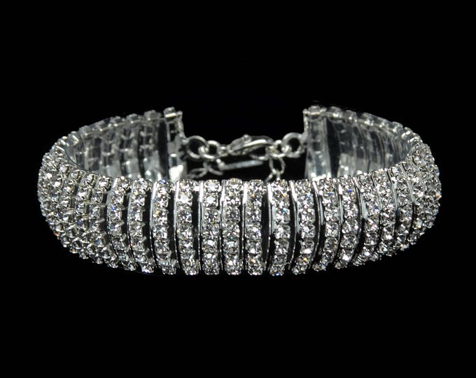 Hailey Clear Crystal Competition Bracelet for IFBB, NPC, and NANBF Bikini Fitness Bodybuilding Contests