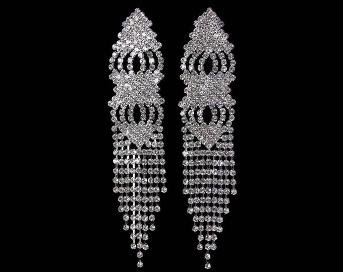 Chelsea Clear Crystal Rhinestone Fringe NPC Bikini Fitness Competition Earrings