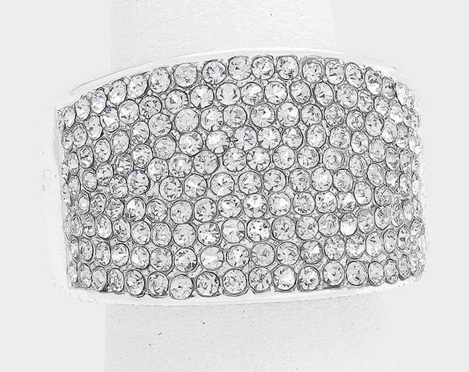 Geneva Clear Crystal Bikini Fitness Competition Stretch Ring for IFBB, NPC, and OCB