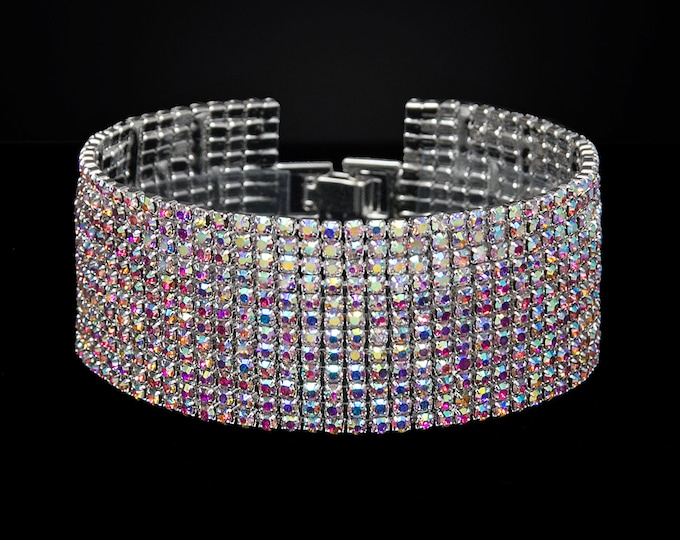 Melissa 12 Row AB Crystal Competition Bracelet for IFBB and NPC Bikini Fitness Bodybuilding Contests