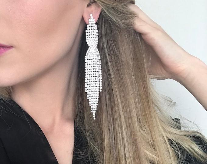 Lexi Clear Crystal Fringe IFBB, NPC Bikini Fitness Competition Earrings - Bodybuilding Jewelry