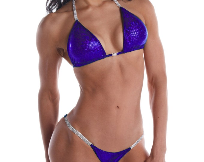 Royal Purple Shatterglass Competition Bikini  NPC, IFBB, WBFF Bodybuilding Posing Suit