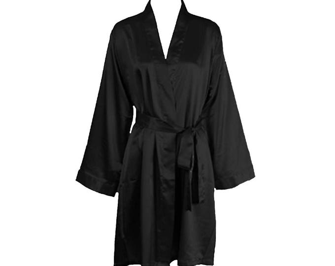 Bikini Competitor Robe - Black Full Sleeve Satin Robe for NPC Bikini Fitness Competition