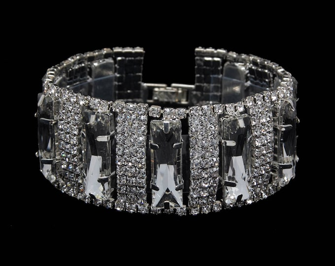Stephanie Clear Crystal Competition Bracelet for IFBB, NPC, and NANBF Bikini Fitness Bodybuilding Contests