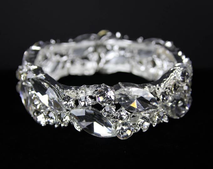 Bianca Clear Crystal Competition Stretch Bracelet for NPC Bikini Fitness Bodybuilding Contests