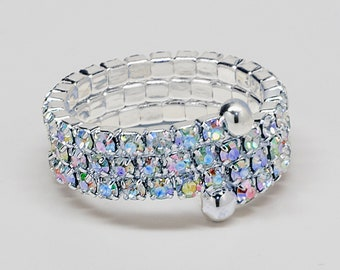 Zoe 3 Row Spiral AB Crystal Coil Rhinestone Ring for NPC Bikini Fitness Bodybuilding Competitions