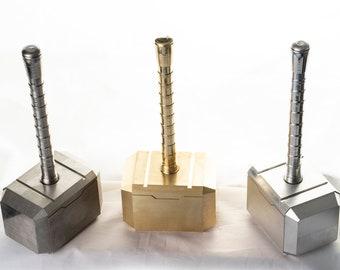 Mini-Mjolnir Thor's Hammer paperweight in aluminum/brass/stainless steel