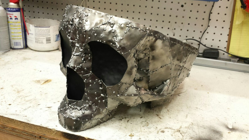 Handmade oversized sheet metal skull bowl. One of a kind all image 0