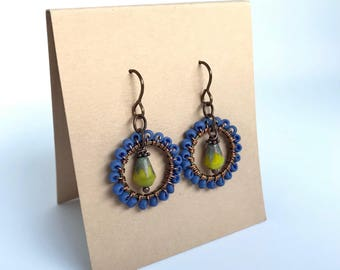 Blue and chartreuse earrings