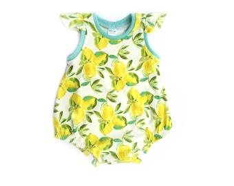 Lemon Romper, Summer Romper, Girls Bubble Romper, Bubble Sunsuit, Baby Girls Romper, Bubble Romper, Flutter Sleeve Romper, Summer Sunsuit