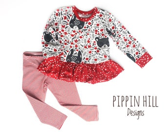 valentines day dress, peplum top, girls ruffle top, red striped leggings, girls outfit, toddler dress set, valentines outfit
