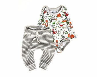 6e33744bfeaa1 Bodysuit set, pants and top, onesie and pants, coming home set, baby fox  clothes, striped baby pants, striped baby set, gender neutral baby