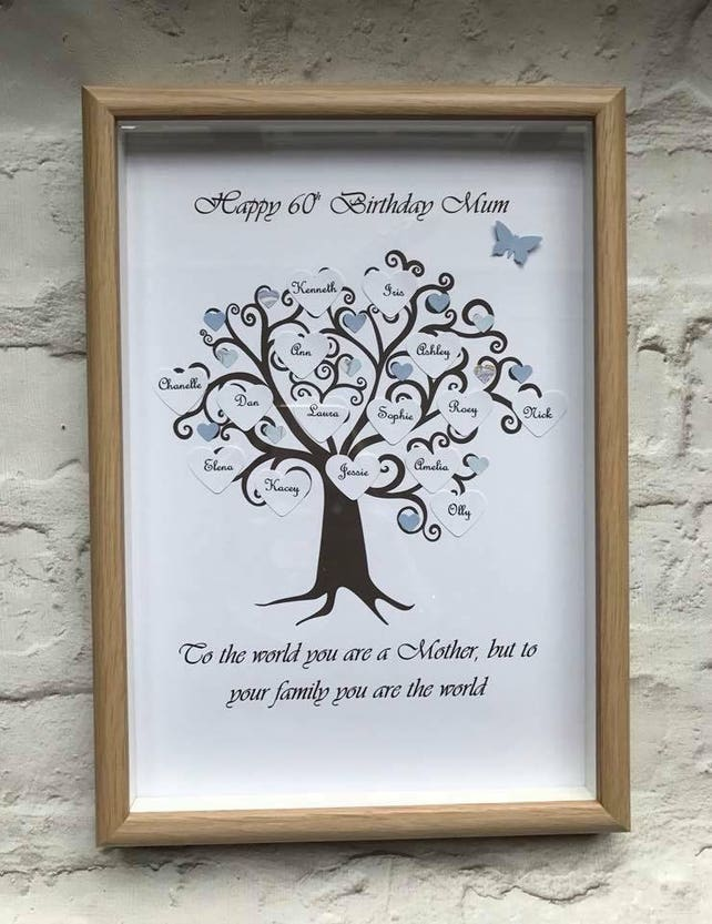 Personalised A4 shadow box frame family tree Up to 25 names | Etsy