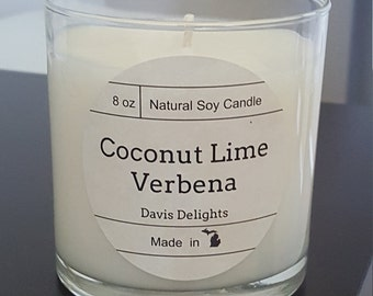 Coconut Lime Verbena 9 oz Soy Candle
