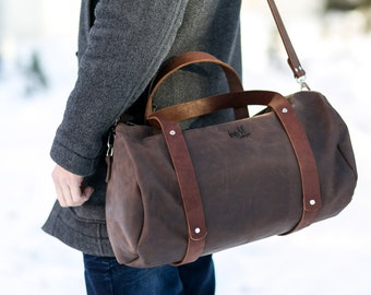 Leather Duffle Bag, Large Zippered Leather Duffle, overnight bag, leather weekend bag, gym bag,