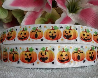 "3 yards,  7/8"" Halloween pumpkin design grosgrain ribbon"