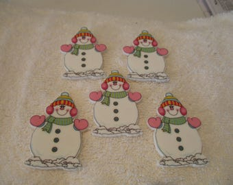 Set of 5 Snow woman w/pink mittens