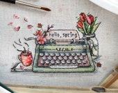 Typewriter cross stitch - Vintage Retro Typewriter - spring cross stitch - hello spring - delicate cross stitch - floral cross stitch