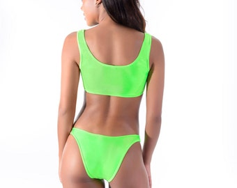 85dc779c18 BOTTOM Neon Green Bikini High Hip Bottom 90s Inspired Brazilian bikini High  leg 80s inspired bikini