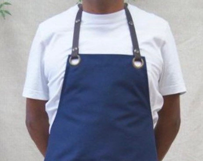 """""""Server"""" fabric apron with leather straps"""
