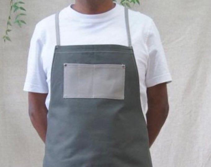 "Fabric ""work"" apron, cross straps"