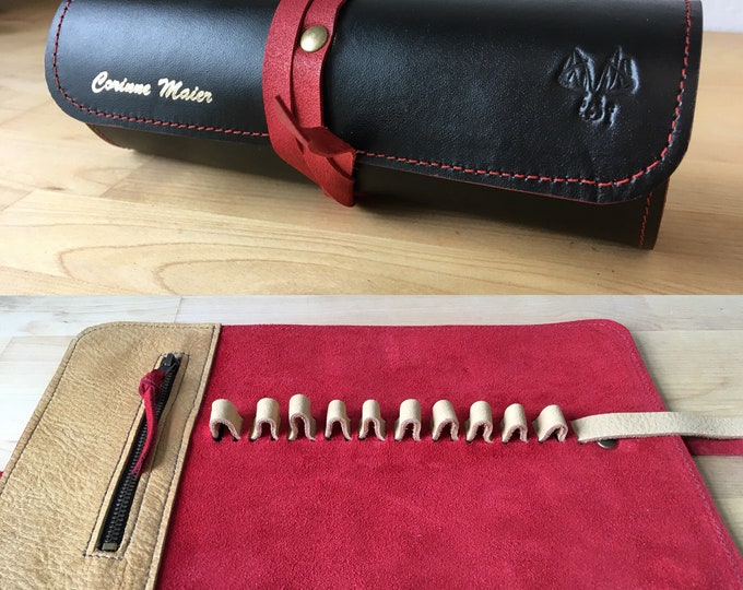 Custom pen pencil case, leather leather roll pencil case 10 pencils/ 10 pens
