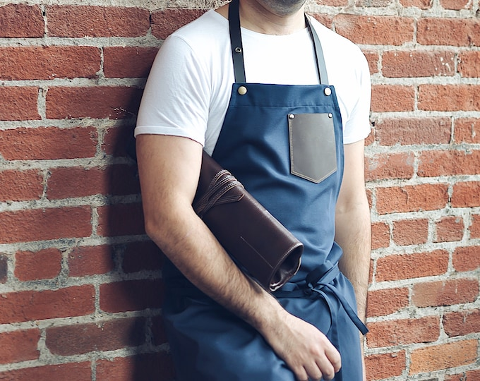 Apron with leather pocket and leather neck strap
