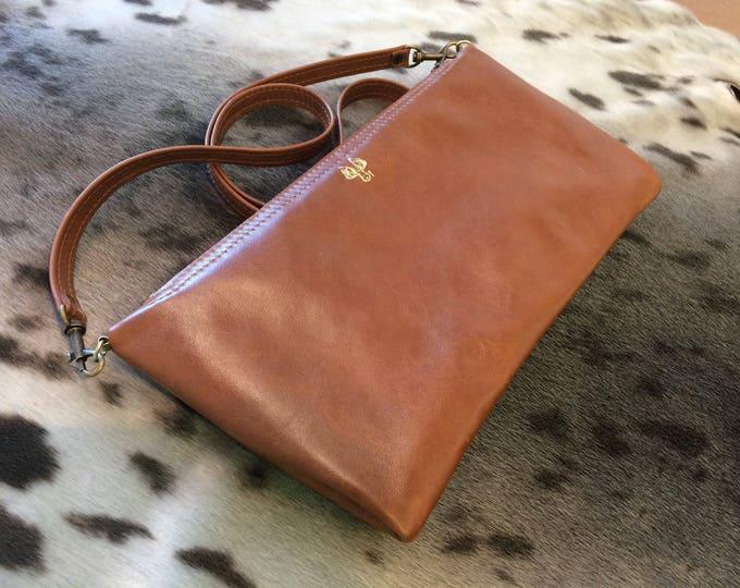 Clutch leather handbag