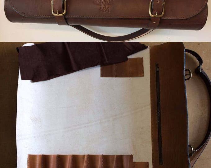 Knife roll roll with vegetal tanned leather knives