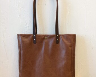 Leather tote, tote bag