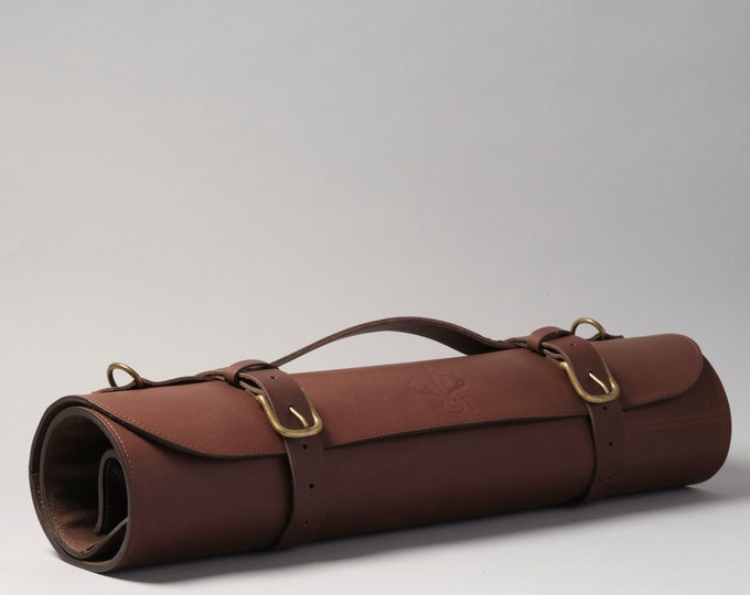 Leather knife roll with handle and shoulder strap