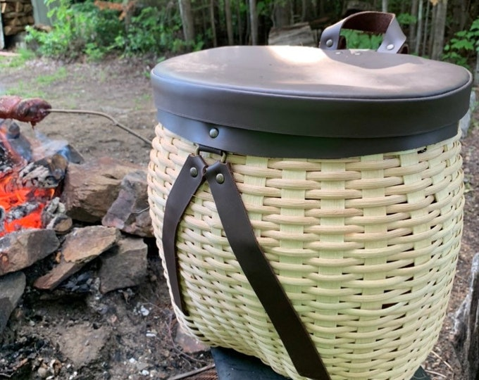 Adirondack basket with waterproof leather lid and strap