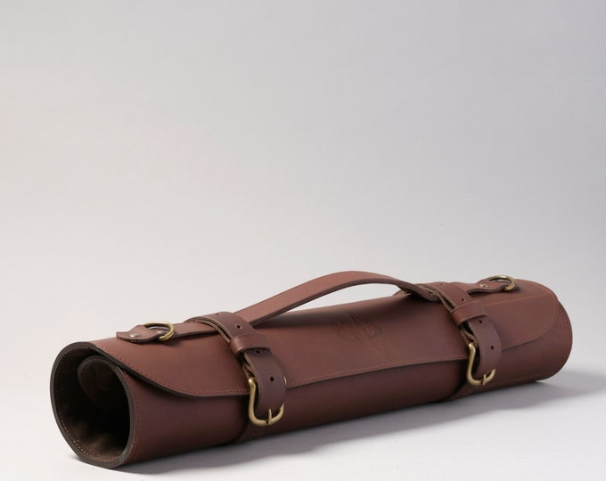 Small leather Knife roll with handle and shoulder strap