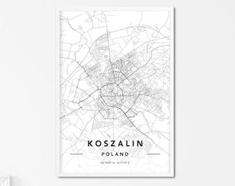 Koszalin Map Poster Koszalin Map Wall Art Koszalin Map Custom Map Print Koszalin Map Print Map Wall Art Koszalin City Map Print