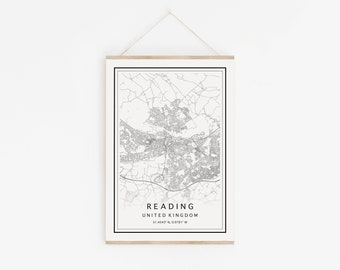 Reading UK Digital Map Reading Map Print Reading Digital Map Custom City Map Reading Map Wall Art Map Of Reading Reading Map Poster