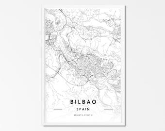 Bilbao Map PrintSpain Wall Art PosterCity Maps ArtworkSpain Map Gifts