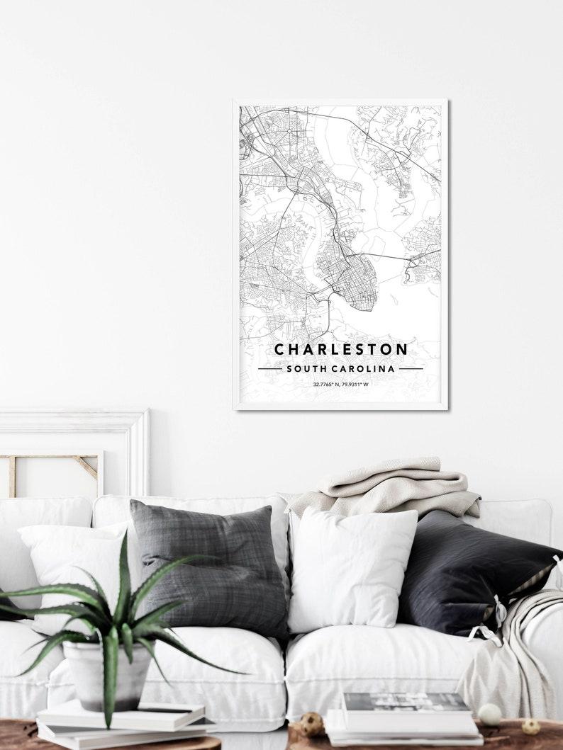 Charleston Map Poster Charleston Wall Art Charleston Printable Map Map Of Charleston SC Charleston DIGITAL DOWNLOAD Map